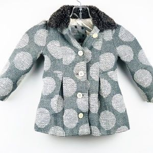 Cherokee Girls Gray Polka Dot Jacket Pea Coat